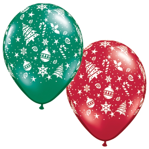 BALLOONS LATEX - CHRISTMAS TRIMMINGS DESIGN PACK OF 6
