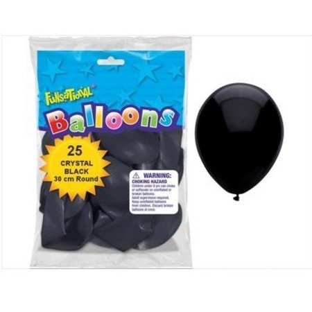 BALLOONS LATEX - FUNSATIONAL CRYSTAL BLACK PACK OF 25