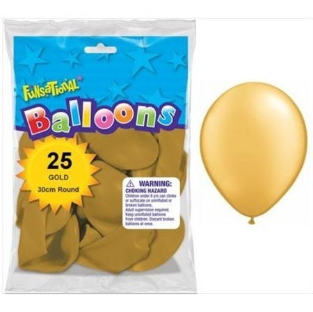 BALLOONS LATEX - FUNSATIONAL PEARL GOLD PACK OF 25