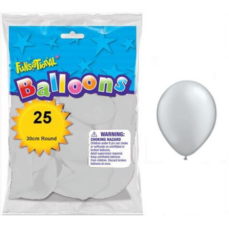 BALLOONS LATEX - FUNSATIONAL PEARL SILVER PACK OF 25