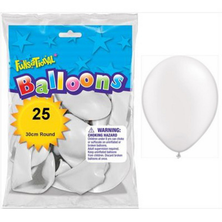 BALLOONS LATEX - FUNSATIONAL PEARL WHITE PACK OF 25