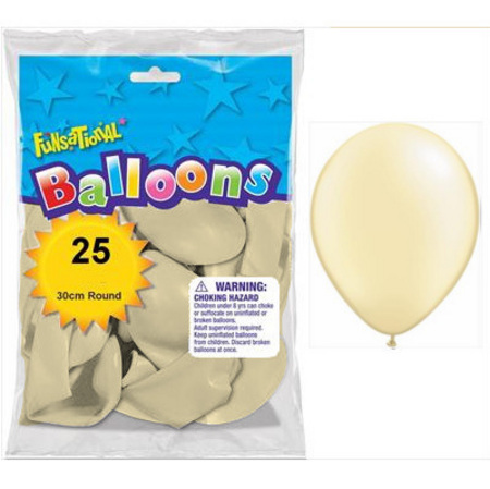 BALLOONS LATEX - FUNSATIONAL PEARL IVORY PACK OF 25