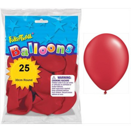 BALLOONS LATEX - FUNSATIONAL PEARL RED PACK OF 25