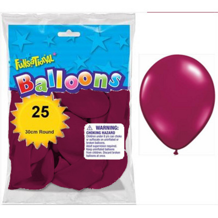 BALLOONS LATEX - FUNSATIONAL CRYSTAL BURGUNDY PACK OF 25