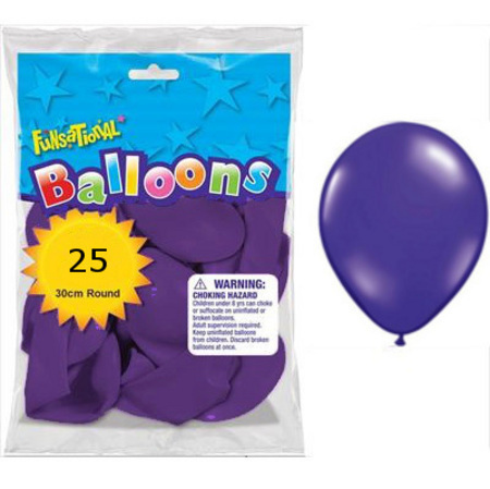 BALLOONS LATEX - FUNSATIONAL CRYSTAL PURPLE PACK OF 25