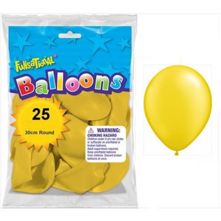 BALLOONS LATEX - FUNSATIONAL PEARL YELLOW PACK OF 25