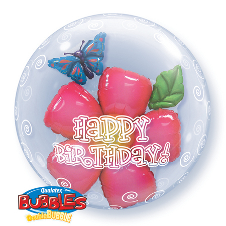DOUBLE BUBBLE BALLOON - 'HAPPY BIRTHDAY' FLOWER