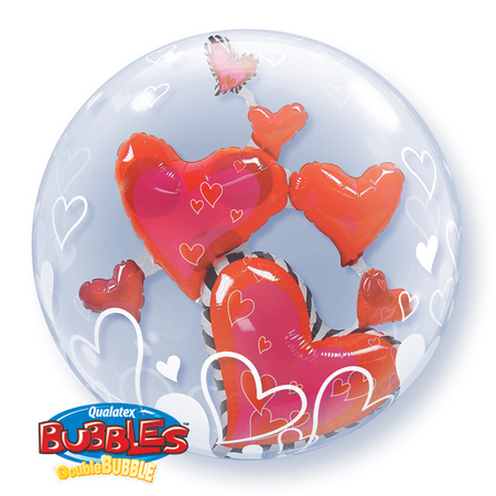 DOUBLE BUBBLE BALLOON - LOVELY FLOATING HEARTS