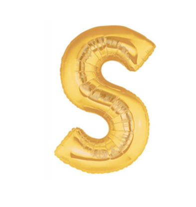 FOIL BALLOON SUPER SHAPE LETTER S - GOLD
