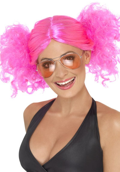 1980'S BRIGHT PINK BUNCHES WIG