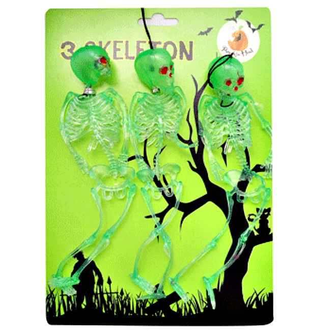 GLOW IN THE DARK SKELETONS - PACK OF 3