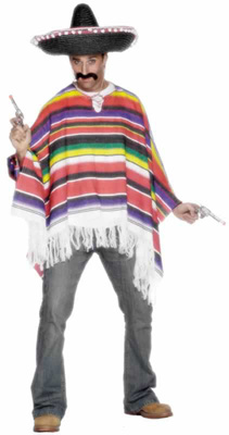 MEXICAN WOVEN PONCHO ADULT