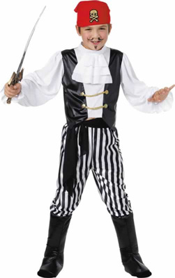 DELUXE PIRATE BOYS FANCY DRESS COSTUME - SMALL
