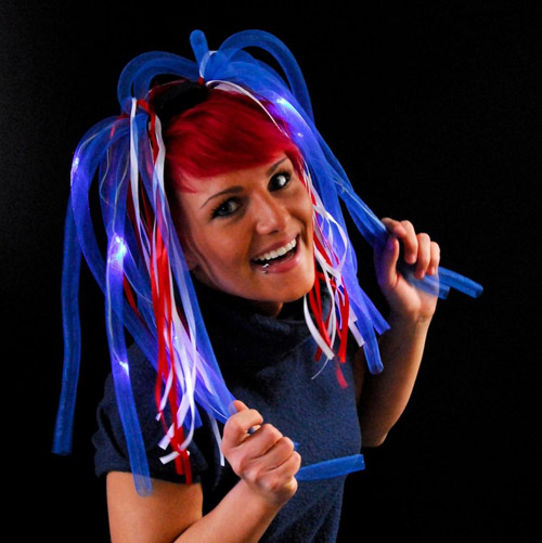 PATRIOTIC RED, WHITE & BLUE LIGHT UP DREADLOCKS SUPPORTERS WIG