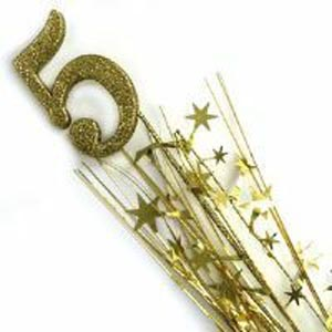 Image of Glittered Spangle Number 5 Gold
