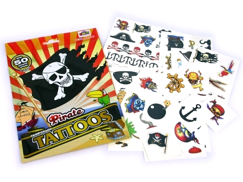 PARTY FAVOURS - PIRATE TEMPORARY TATTOOS BULK PACK OF 65