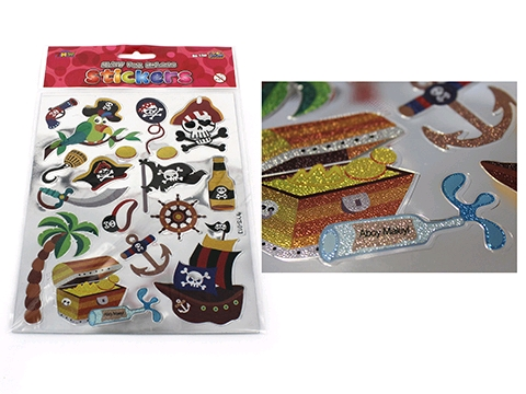 PARTY FAVOURS - SHINY FOIL EMBOSSED PIRATE STICKERS