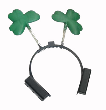 ST PATRICK'S DAY FLASHING SHAMROCK HEAD BOPPER