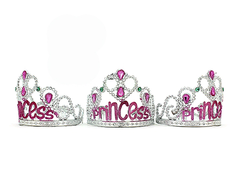 TIARA - SILVER WITH PINK 'PRINCESS' SCRIPT & BLUE & PINK GEMS