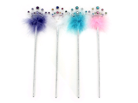 PRINCESS CROWN WAND WITH FAUX JEWELS & MARIBOU FEATHERS