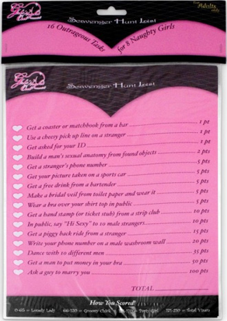 HEN'S NIGHT SCAVENGER HUNT LIST