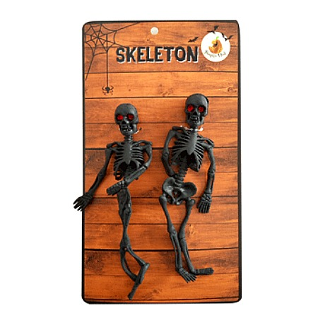 PARTY FAVOURS - BLACK SKELETONS WITH GEM EYES - PACK OF 2