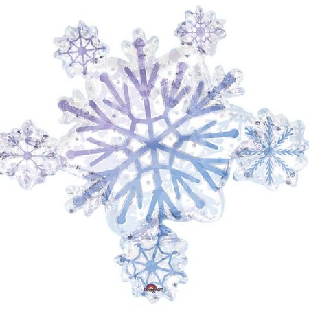 foil super shape balloon – snowflake prismatic cluster