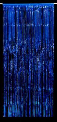 METALLIC FOIL CURTAIN - BLUE