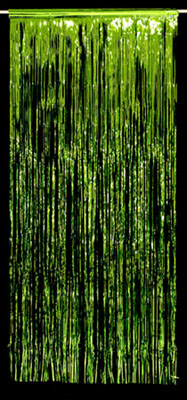 METALLIC FOIL CURTAIN - LIME GREEN