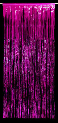 METALLIC FOIL CURTAIN - MAGENTA