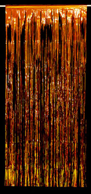 ORANGE FOIL METALLIC CURTAIN
