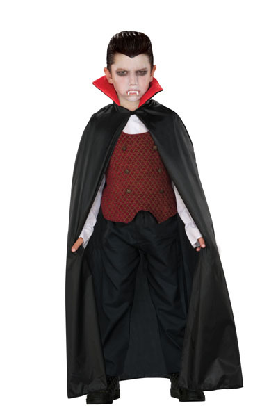 Image of Childs Black Cape With Red Collar