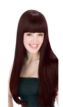 LONG BROWN GLAMOUR WIG WITH FRINGE