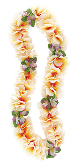 HAWAIIAN FLOWER LEI FANCY ORCHID ORANGE & WHITE