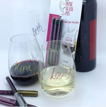 THE WINE GLASS PEN - PACK OF 3 COLOURS