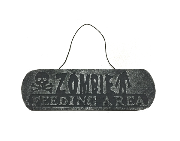 HALLOWEEN WARNING SIGN - ZOMBIE FEEDING AREA