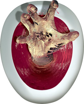 TOILET TOPPER - BLOODY MUTILATED HAND
