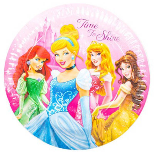 DISNEY PRINCESS SPARKLE PLATES - PACK OF 8