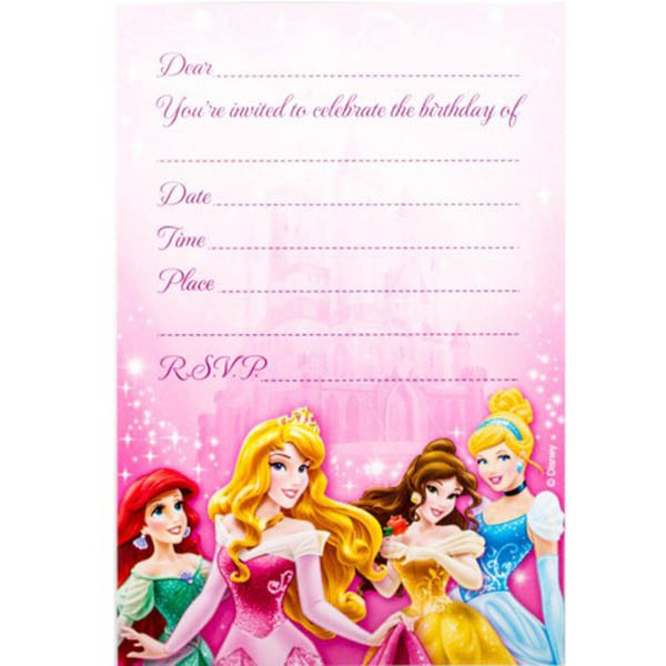 Disney Princess Sparkle Invitations Party Supplies Online – Disney Princess Birthday Invitation Wording