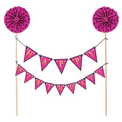 CAKE TOPPER - HAPPY BIRTHDAY PINK BANNER KIT