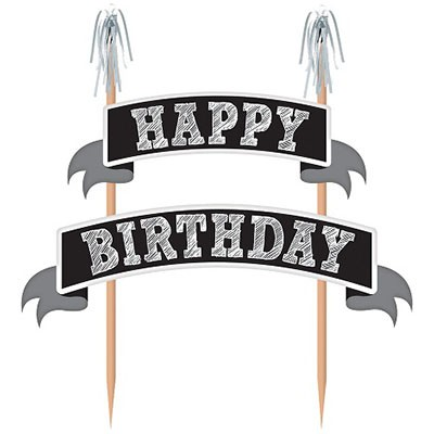 CAKE TOPPER - HAPPY BIRTHDAY SILVER CHALKBOARD BANNER KIT