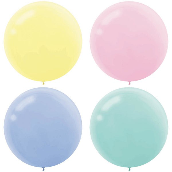 "BALLOONS LATEX - 24""/60CM PASTEL ASSORTMENT - PACK OF 4"