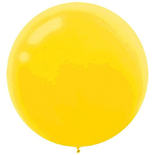 "BALLOONS LATEX - 24""/60CM SUNSHINE YELLOW - PACK OF 4"