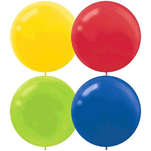 "BALLOONS LATEX - 24""/60CM PRIMARY ASSORTMENT - PACK OF 4"