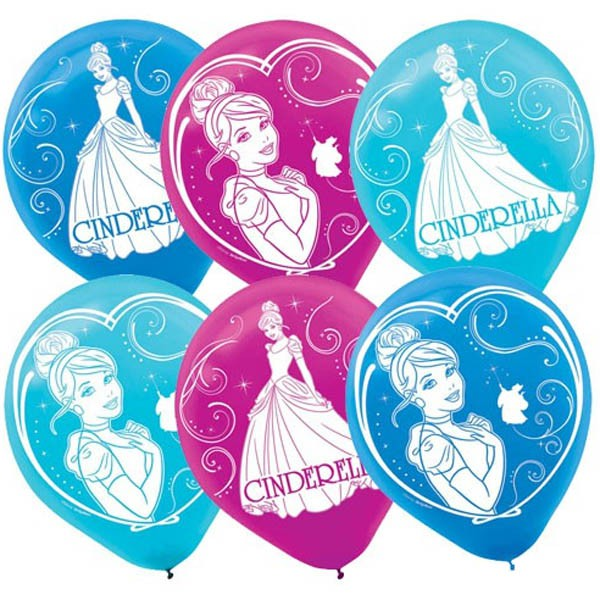 BALLOONS LATEX - CINDERELLA SPARKLE PACK OF 6