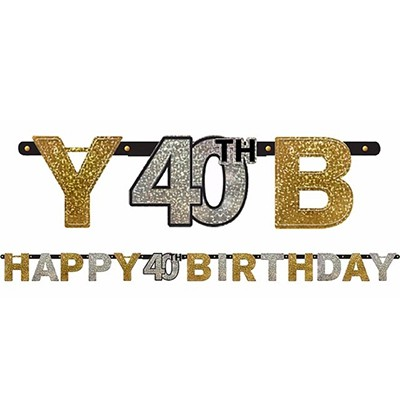 40TH BIRTHDAY BANNER - SPARKLING BLACK, GOLD N SILVER