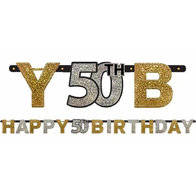 50TH BIRTHDAY BANNER - SPARKLING BLACK, GOLD N SILVER