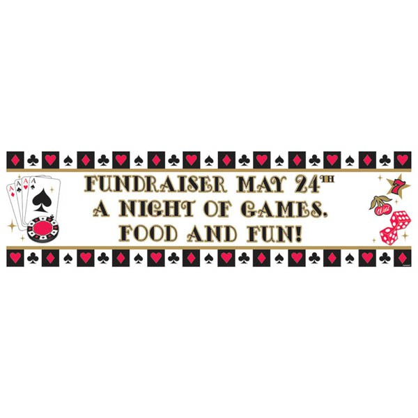 CASINO NIGHT GIANT PERSONALISED PARTY BANNER