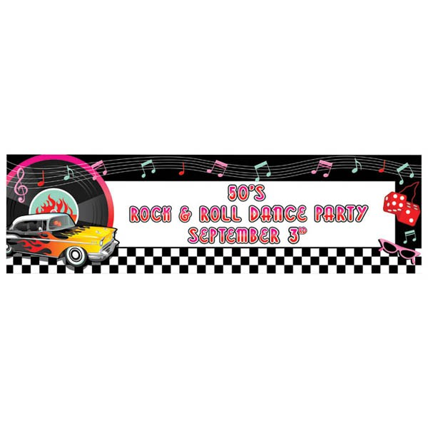 ROCK N' ROLL GIANT PERSONALISED PARTY BANNER