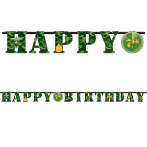 "CAMOUFLAGE CUSTOMISABLE 'HAPPY BIRTHDAY"" PARTY BANNER"